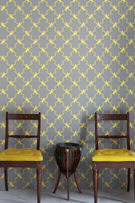 Horse Trellis - Acid On Grey Wallcovering