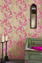 Load image into Gallery viewer, Paisley - Hot Pink On Tea Stain Wallcovering