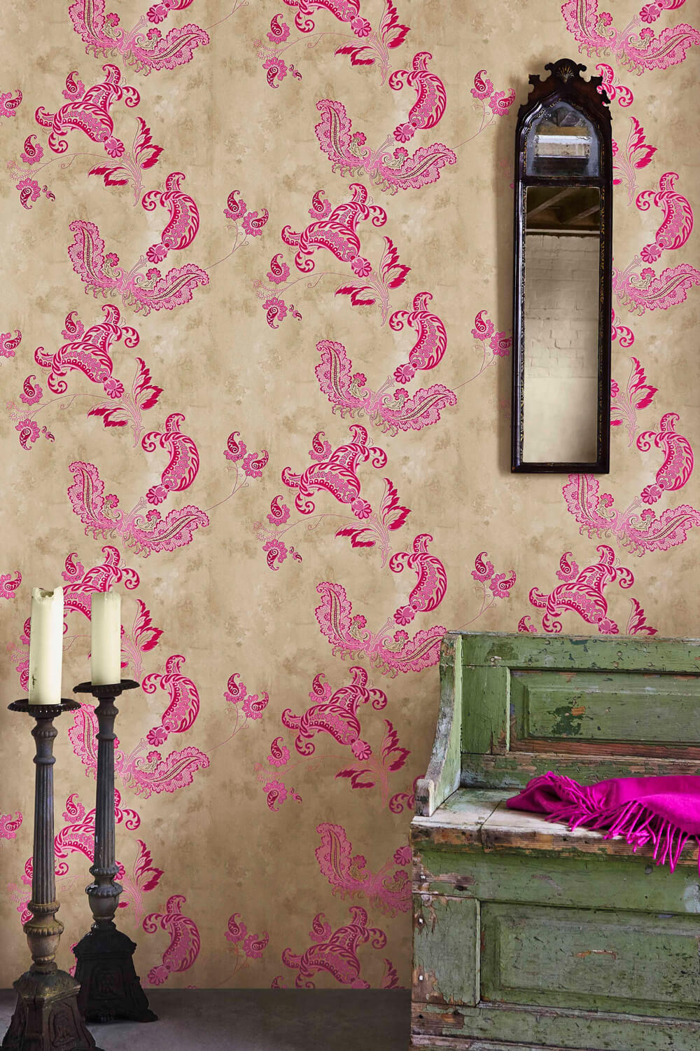 Paisley - Hot Pink On Tea Stain Wallcovering