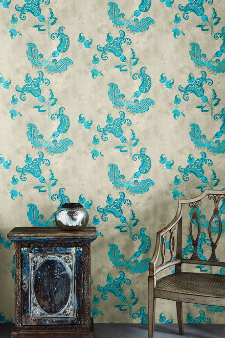 Paisley - Turquoise On Old Grey Wallpaper