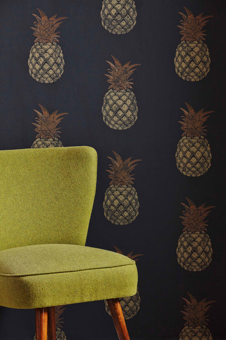Pineapple - Charcoal Wallcovering