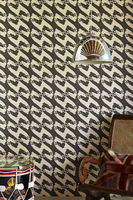 The Dogs - Charcoal Wallcovering