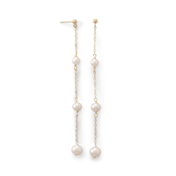 14 Karat Gold Post Earrings with Three Cultured Freshwater Pearl Drop