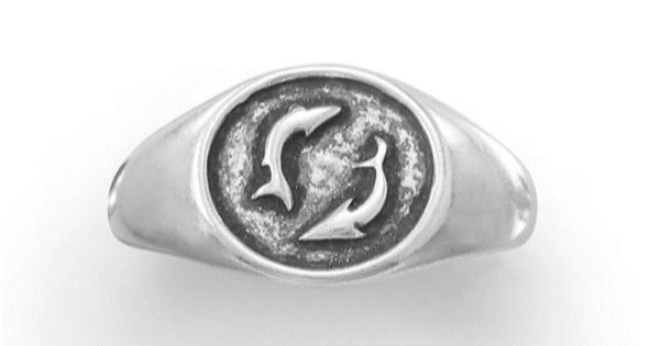 Oxidized Sterling Silver Fish Design Ring