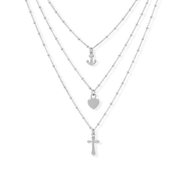 "16""+2"" Rhodium Plated Three Strand Charm Necklace"