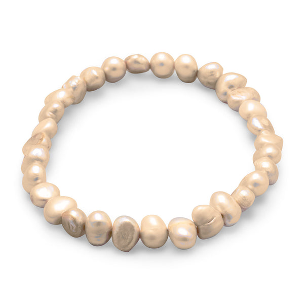 Tan Cultured Freshwater Pearl Stretch Bracelet