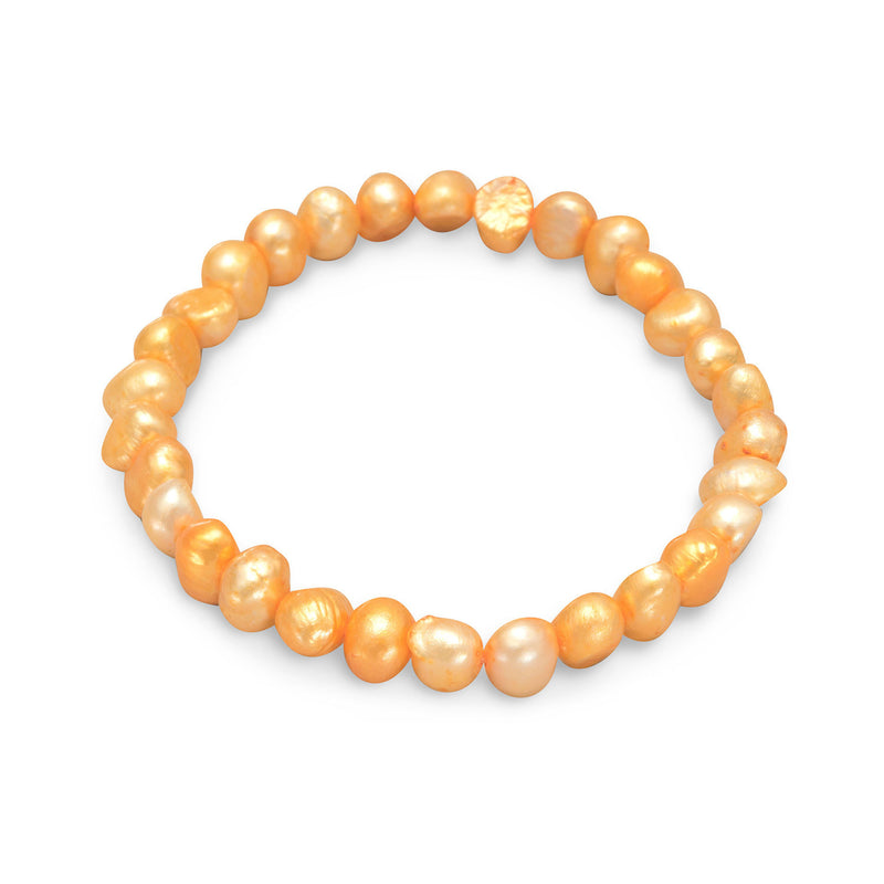 Orange Cultured Freshwater Pearl Stretch Bracelet