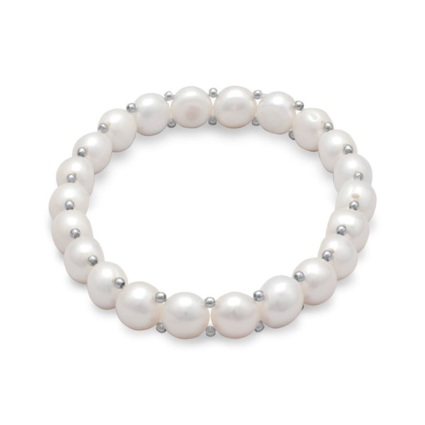 Cultured Freshwater Button Pearl Stretch Bracelet