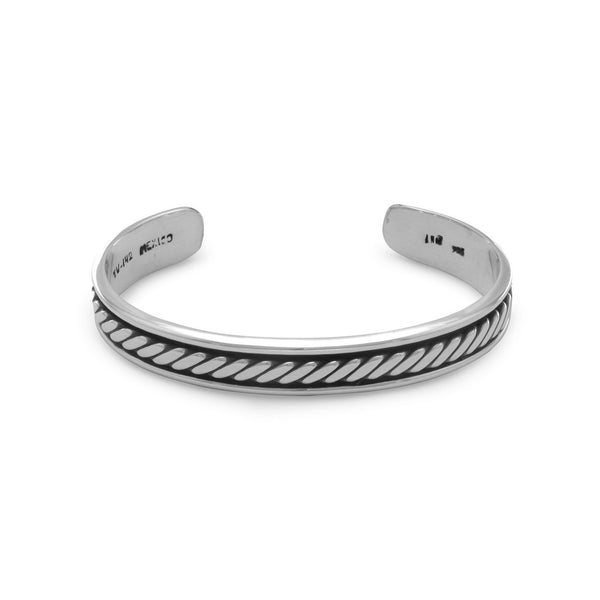 Oxidized Men's Cuff Bracelet with Rope Design