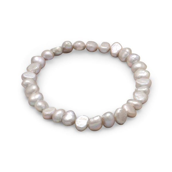 Silver Cultured Freshwater Pearl Stretch Bracelet
