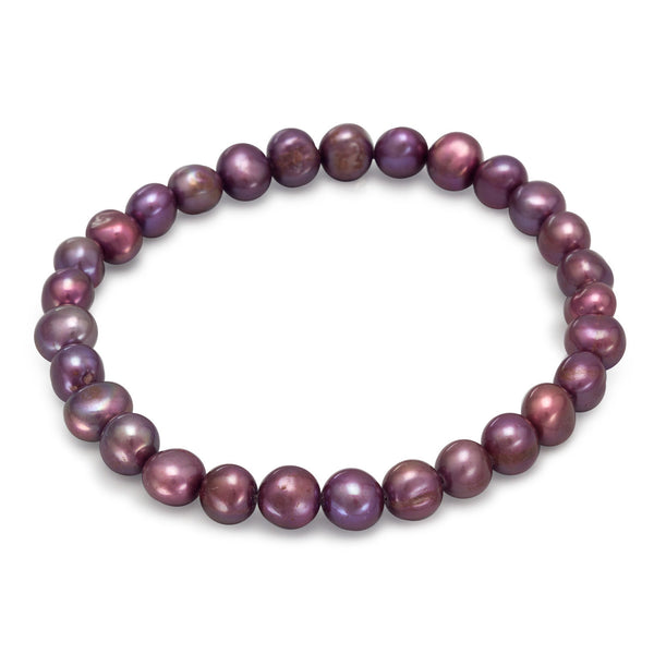 Maroon Cultured Freshwater Pearl Stretch Bracelet