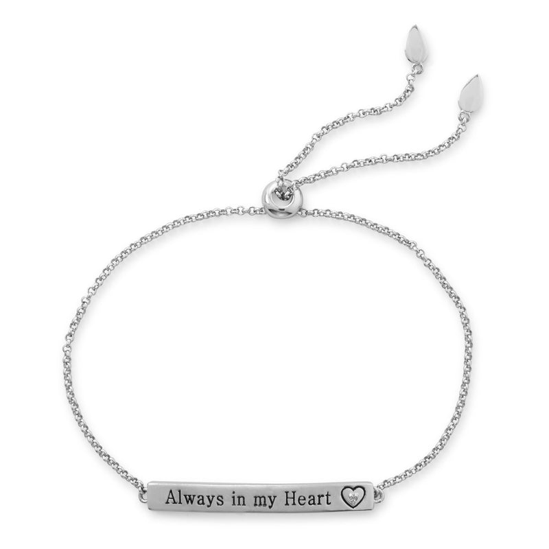 "Rhodium Plated ""Always in my Heart"" Bar Bolo Bracelet with Diamond"