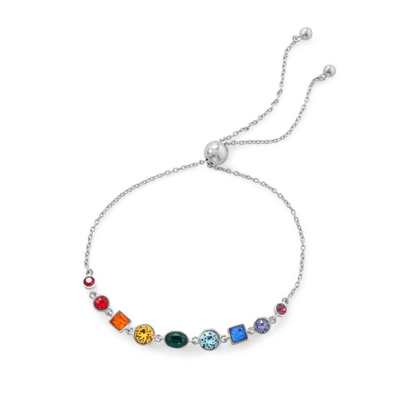 Rhodium Plated Crystal Rainbow Bolo Bracelet
