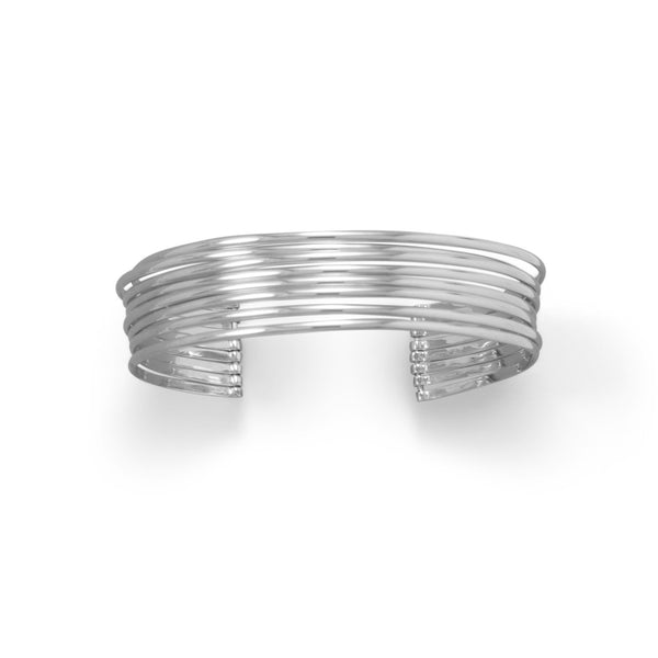 Rhodium Plated 8 Row Cuff