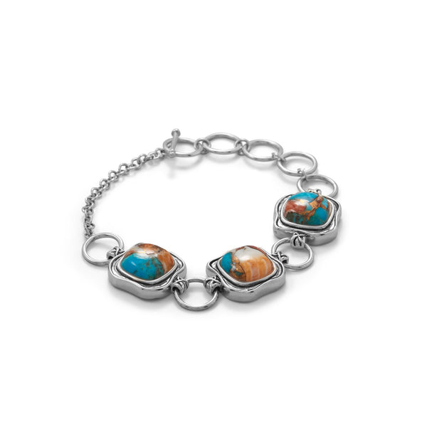 Spiny Oyster and Turquoise Toggle Bracelet