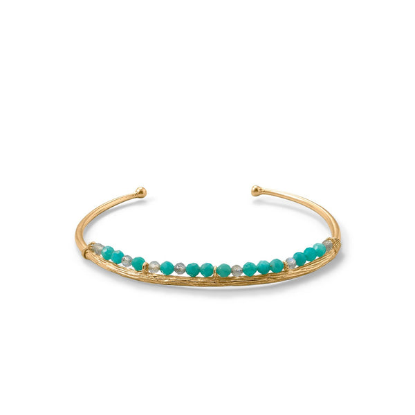 14 Karat Gold Plated Amazonite and Labradorite Cuff