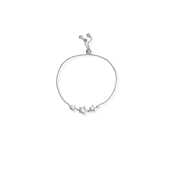 Adjustable Rhodium Plated 3 Star Bolo BR
