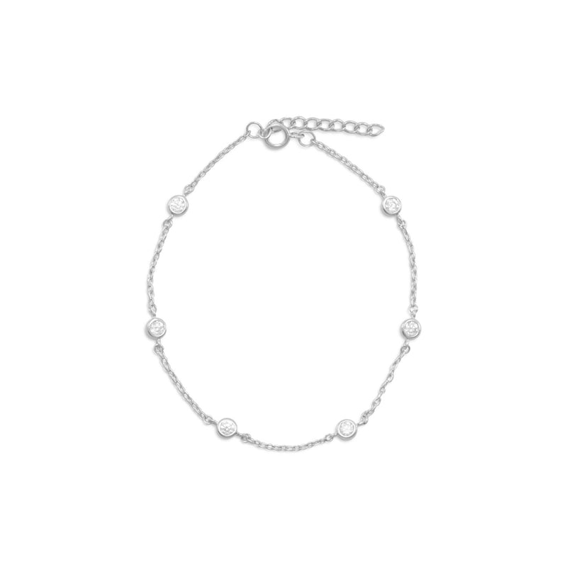 "9"" + 1"" Extension Rhodium Plated 6 Bezel Set CZ Anklet"