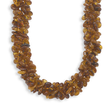"19"" Triple Strand Knotted Baltic Amber Bead Necklace"