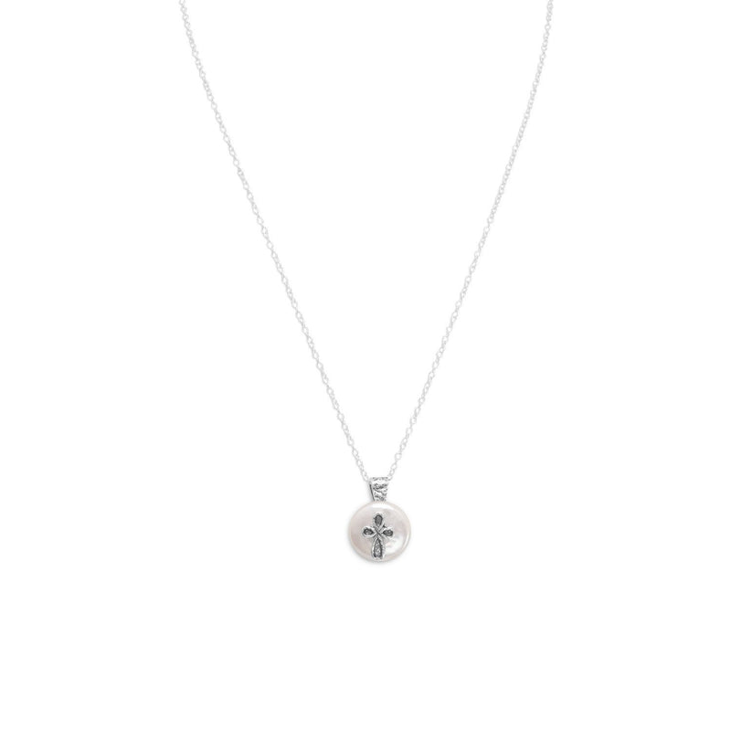 "17.5"" Cultured Freshwater Pearl with Cross Design Necklace"