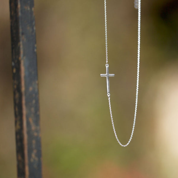 "16"" + 2"" Necklace with Off Center Cross"