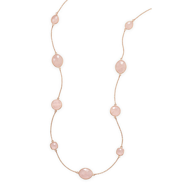 "24"" 14 Karat Rose Gold Plated Rose Quartz Necklace"