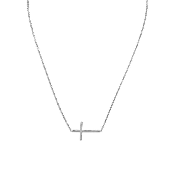 "16"" + 2"" Rhodium Plated Polished Sideways Cross Necklace"