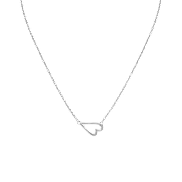 "16"" + 2"" Rhodium Plated Sideways Heart Necklace"
