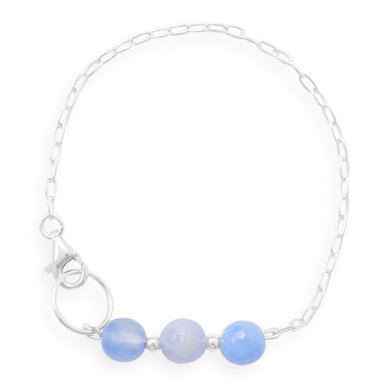 "7"" Handmade Faceted Blue Quartz Bracelet"