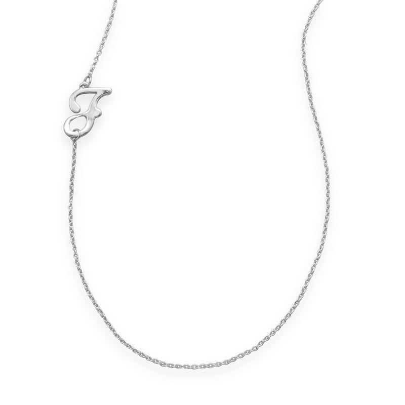 "Rhodium Plated Off Center ""F"" Necklace"