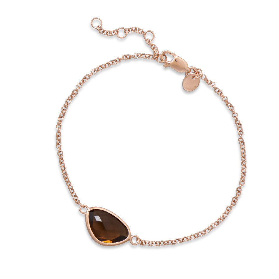 "7"" + 1"" 14 Karat Rose Gold Plated Bracelet with Brown Glass"