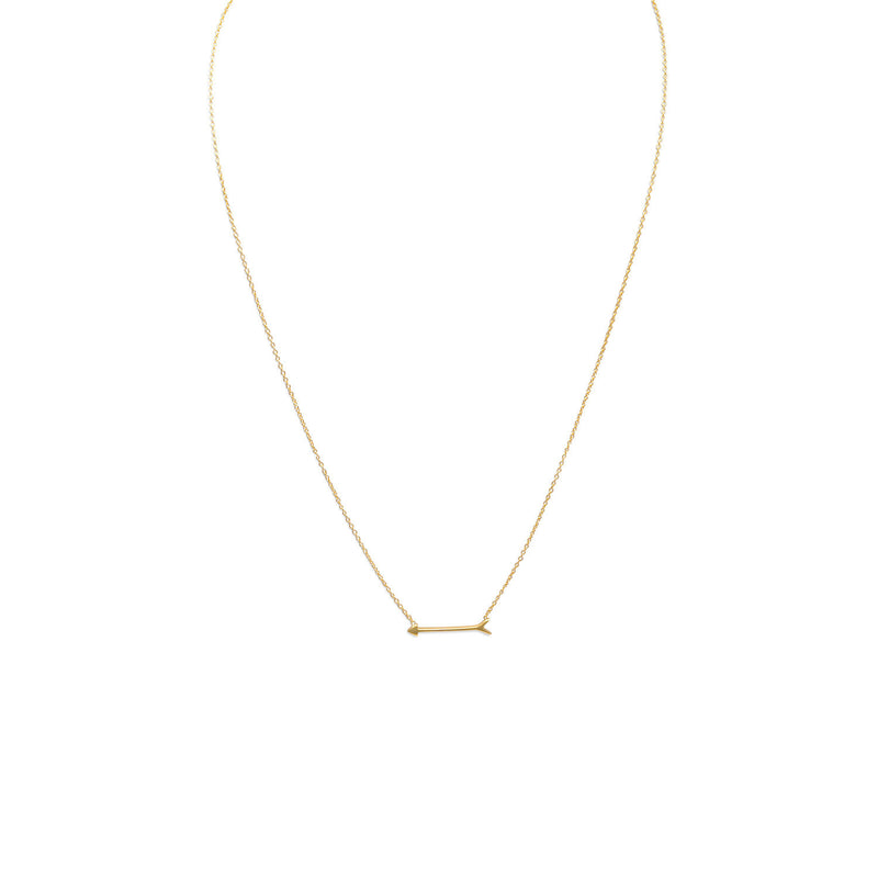 "16"" + 2"" 14 Karat Gold Plated Arrow Design Necklace"
