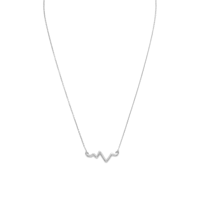"18"" Rhodium Plated Heartbeat Necklace"