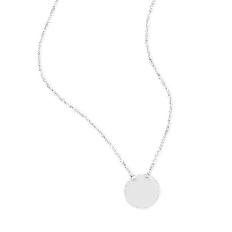 Polished Round Engravable Disk Necklace