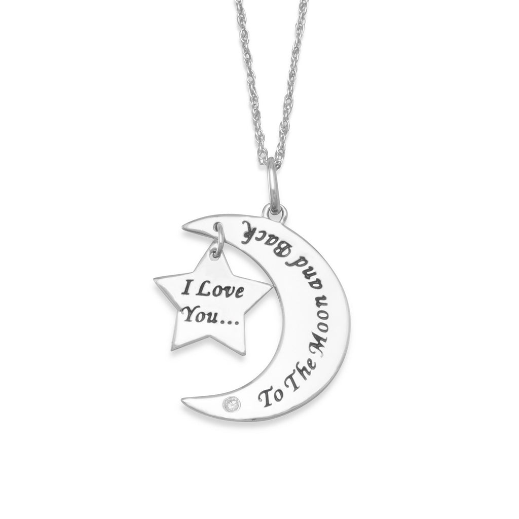 Rhodium Plated I Love You to the Moon and Back Necklace with Diamond