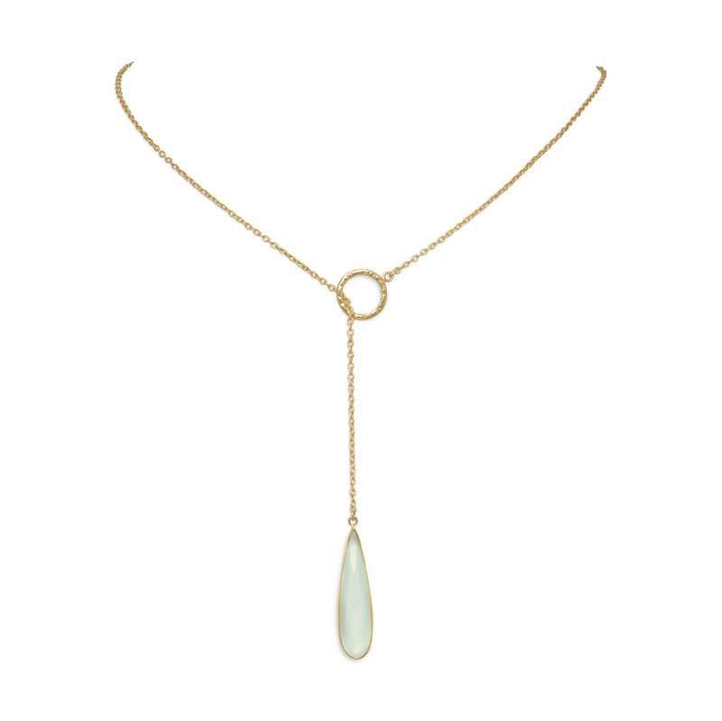 14 Karat Gold Plated Lariat Necklace with Chalcedony Drop