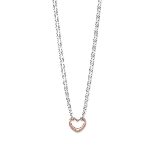 Two Tone Double Strand Open Heart Necklace