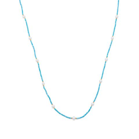 Endless Design Turquoise Magnesite and Cultured Freshwater Pearl Necklace.