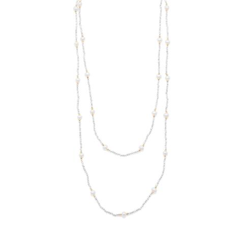 Endless Design Pyrite and Cultured Freshwater Pearl Necklace.