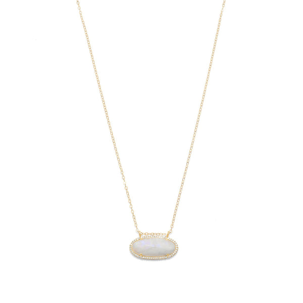 14/20 Gold Filled Rainbow Moonstone Ellipse with CZ Edge Slide Necklace