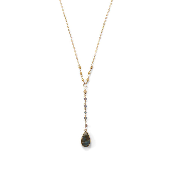 14 Karat Gold Plated Labradorite Drop Necklace