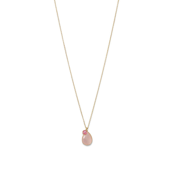 14 Karat Gold Rose Quartz and Pink Hydro Glass Necklace