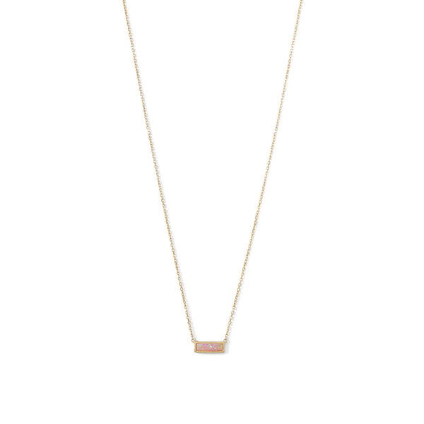 14 Karat Gold Plated Mini Synthetic Pink Opal Bar Necklace