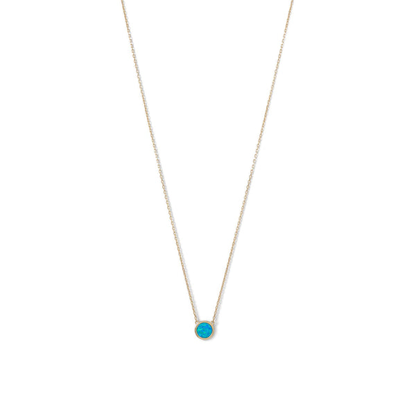 14 Karat Gold Plated Mini Synthetic Blue Opal Necklace