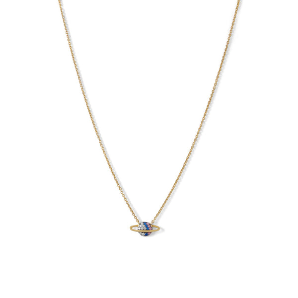 14 Karat Gold Plated Mini CZ Planet Necklace