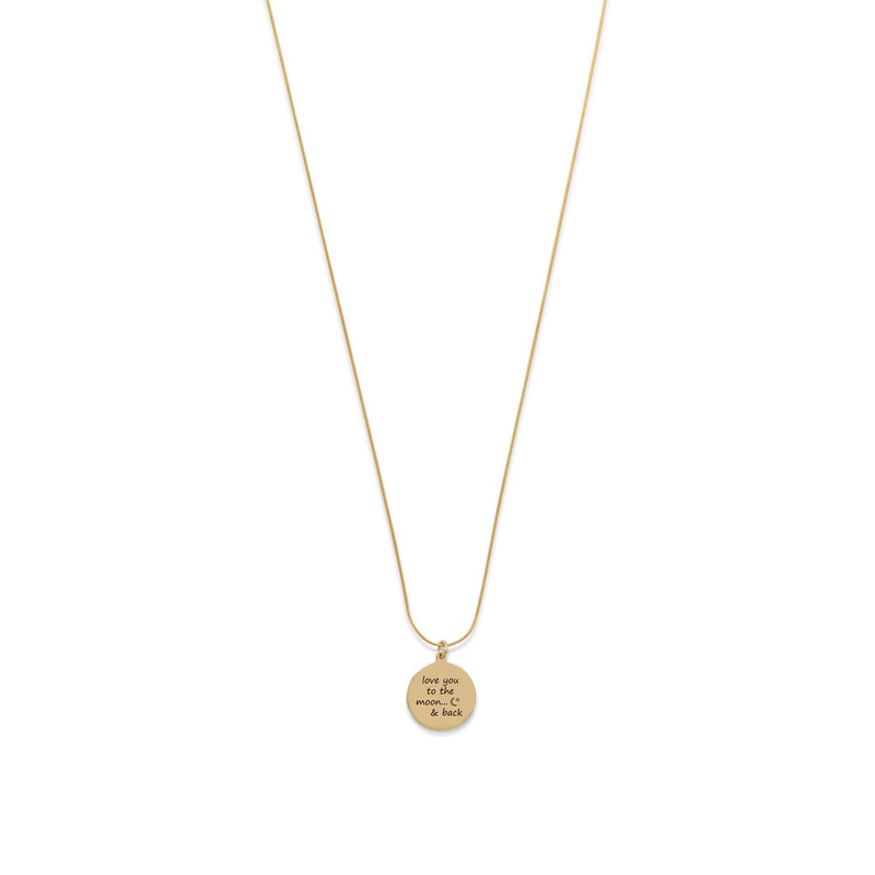 "14 Karat Gold Plated ""Love You To The Moon And Back"" Necklace"