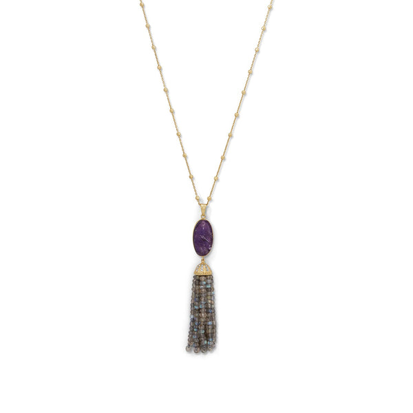 14 Karat Gold Plated Amethyst and Labradorite Tassel Necklace