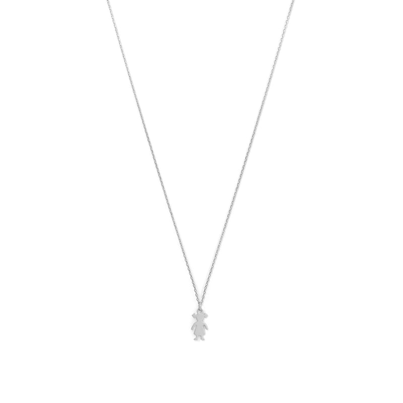Rhodium Plated Girl Necklace