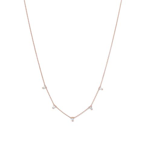 14 Karat Rose Gold Plated Dangling CZ Necklace