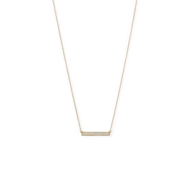 14 Karat Gold Plated Synthetic White Opal Bar Necklace